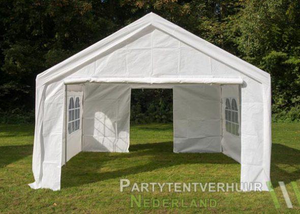 Partytent 4x4 meter voorkant met deur open huren - Partytentverhuur Roosendaal