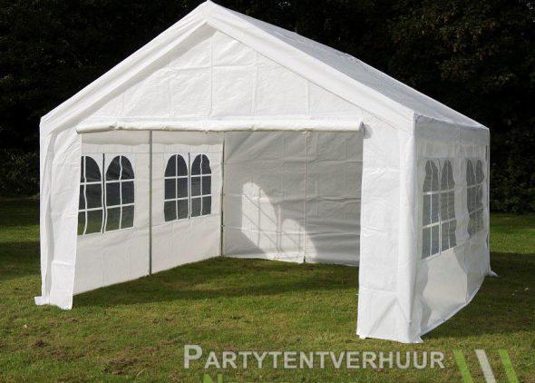 Partytent 4x4 meter voorkant schuin huren - Partytentverhuur Roosendaal