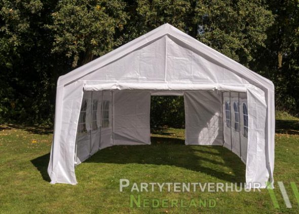 Partytent 4x8 meter voorkant met deur huren - Partytentverhuur Roosendaal