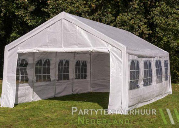 Partytent 4x8 meter voorkant schuin huren - Partytentverhuur Roosendaal