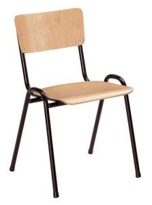 Stoel met houten zitje en houten leuning