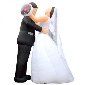 Opblaasbaar Bruidspaar Sluier